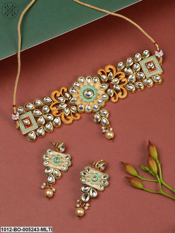 Priyaasi Mint Green & Peach-Coloured Gold-Plated Kundan Stone-Studded Jewellery Set