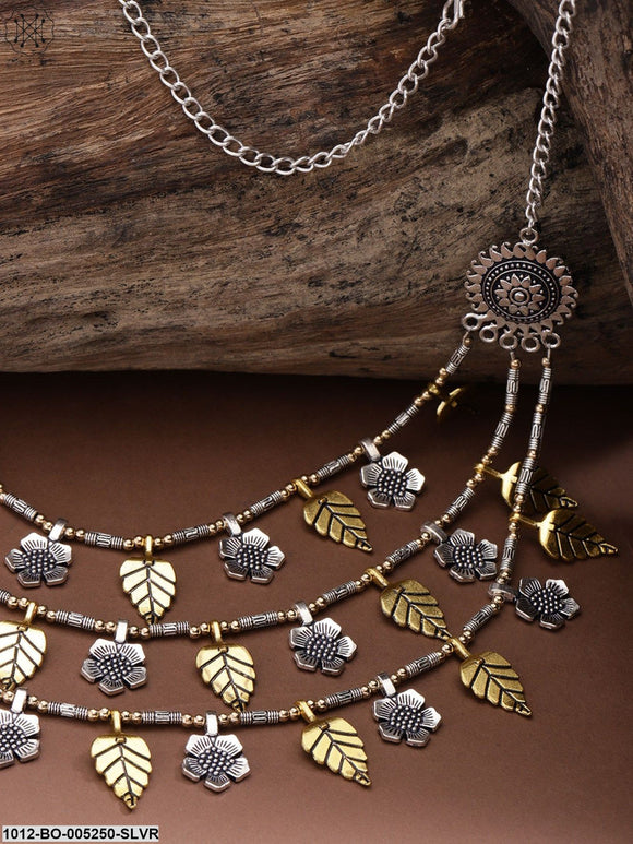 Priyaasi Women Gold-Toned Oxidised German Silver-Plated Layered Necklace