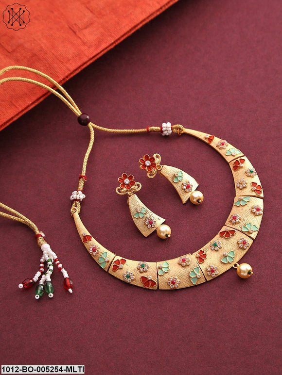 Priyaasi Matte-Gold Plated Stone-Studded Multicolour Flower Jewellery Set