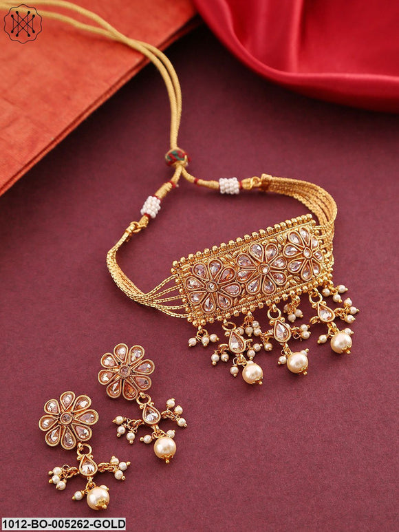 Priyaasi Gold-Plated Stone-Studded Beaded Handcrafted Jewellery Set