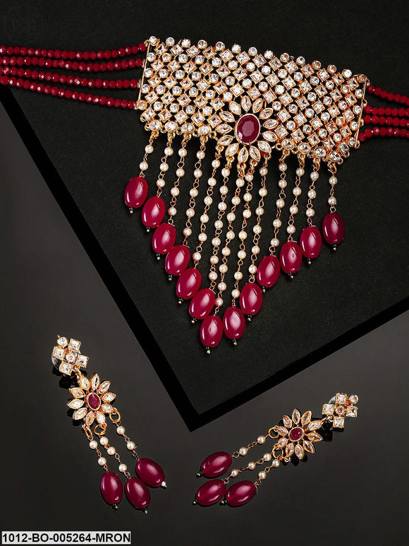 Priyaasi Maroon & Off-White Gold-Plated CZ-Studded & Beaded Handcrafted Jewellery Set