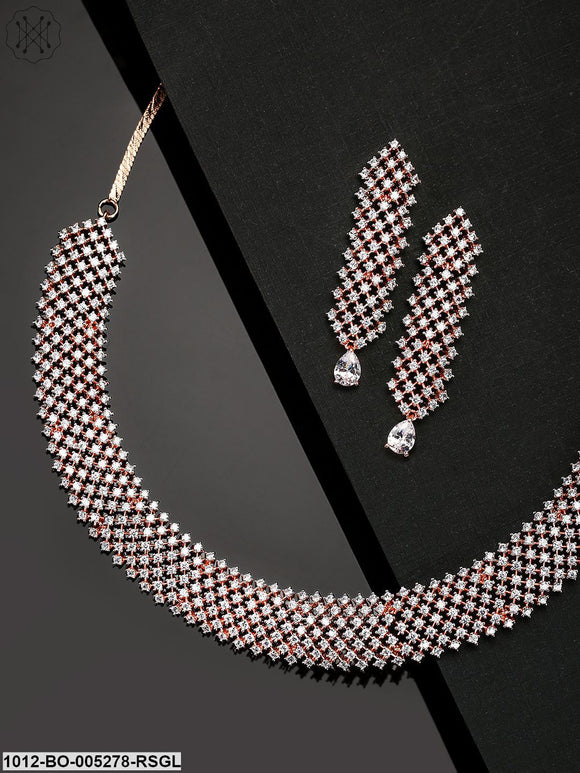 Priyaasi Rose Gold-Plated American Diamond Studded Handcrafted Jewellery Set
