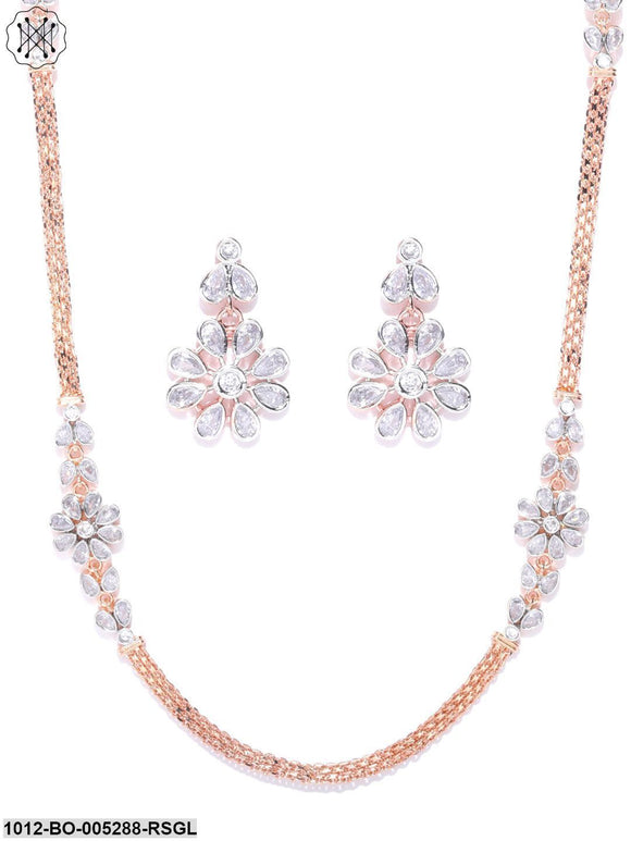Priyaasi Rose Gold Plated American Diamond Studded Floral Pattern Jewellery Set