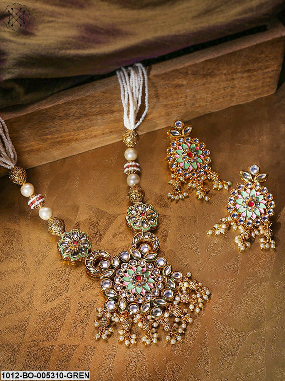 Priyaasi Off-White Antique Gold-Plated Kundan-Studded & Beaded Enamelled Jewellery Set