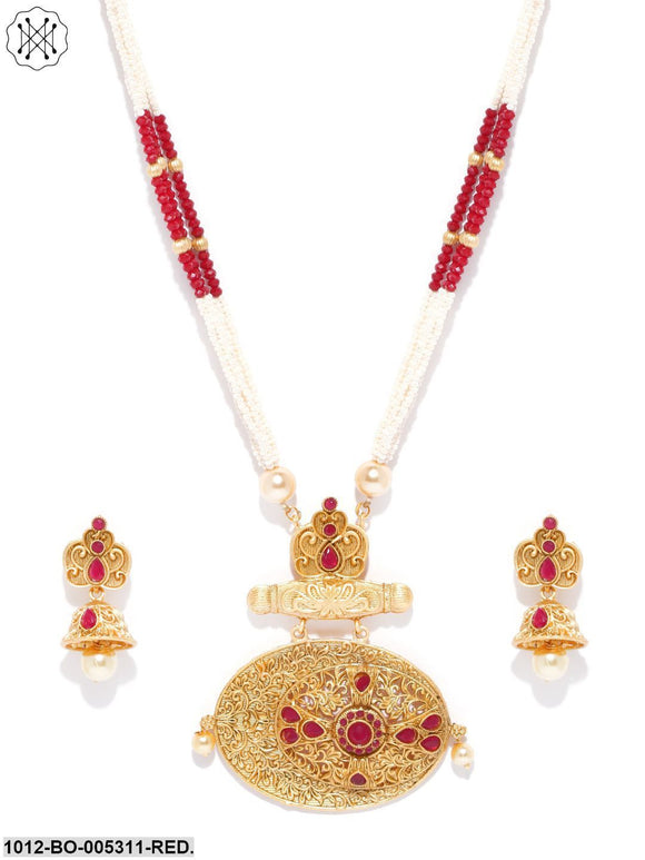 Priyaasi Gold Plated Ruby Stone Studded Beaded Chain Elliptical Shape Jewellery Set
