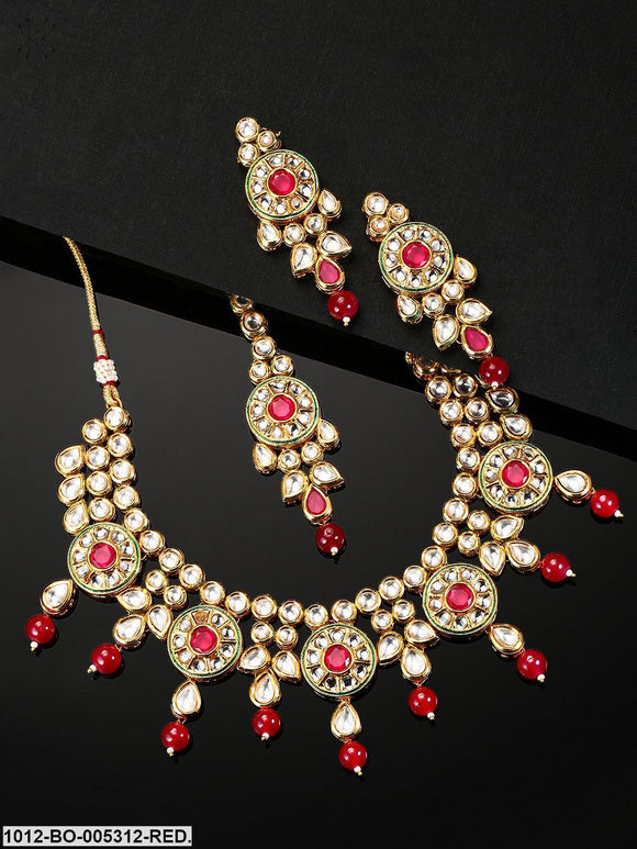 Priyaasi Red Gold-Plated Kundan-Studded & Beaded Jewellery Set