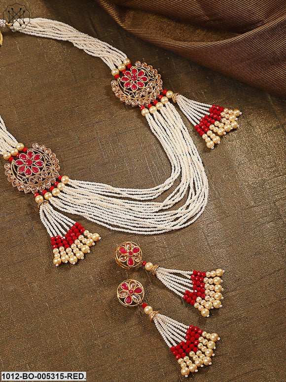 Priyaasi Off-White & Pink Gold-Plated Stone-Studded & Beaded Jewellery Set