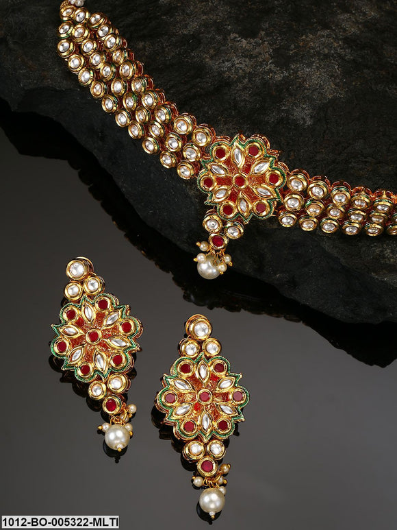 Priyaasi Magenta Gold-Plated Kundan-Studded Handcrafted Jewellery Set