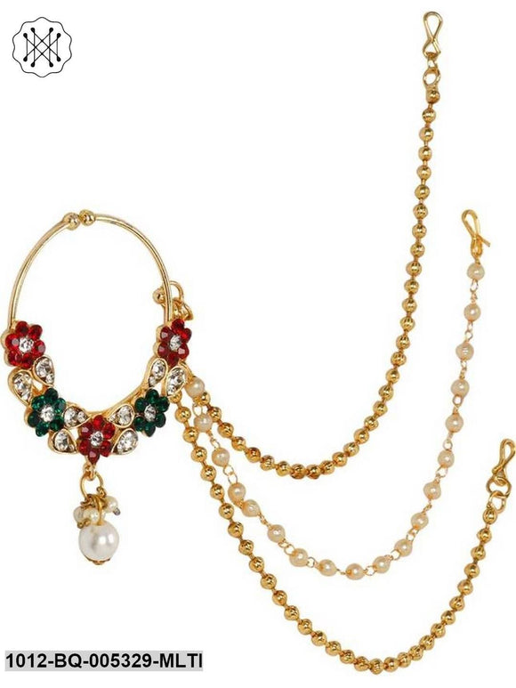 Prita Gold Plated Kundan Studded Triple Chain Multicolour Floral Nath/Nose Ring