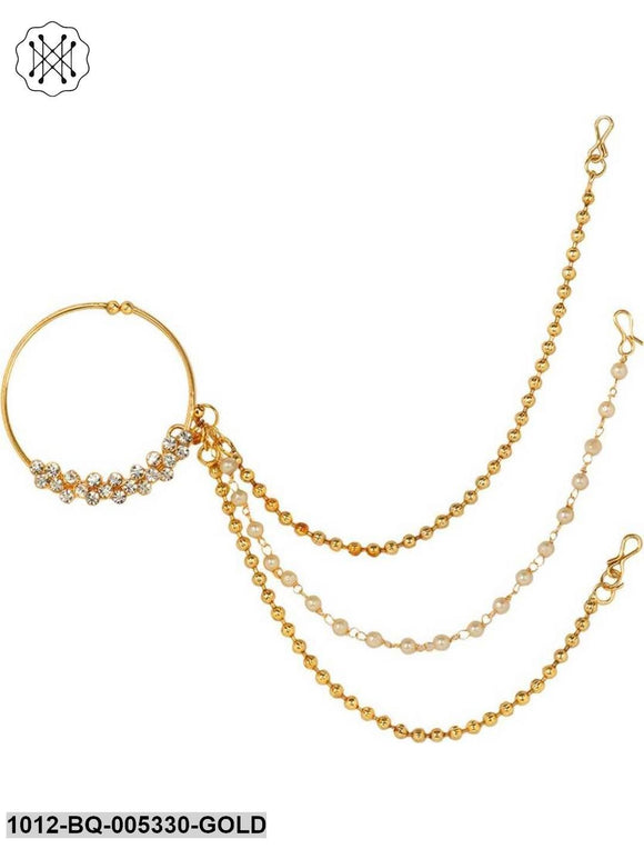 Prita Gold Plated American Diamond Studded Triple Chain Nath/ Nose Ring