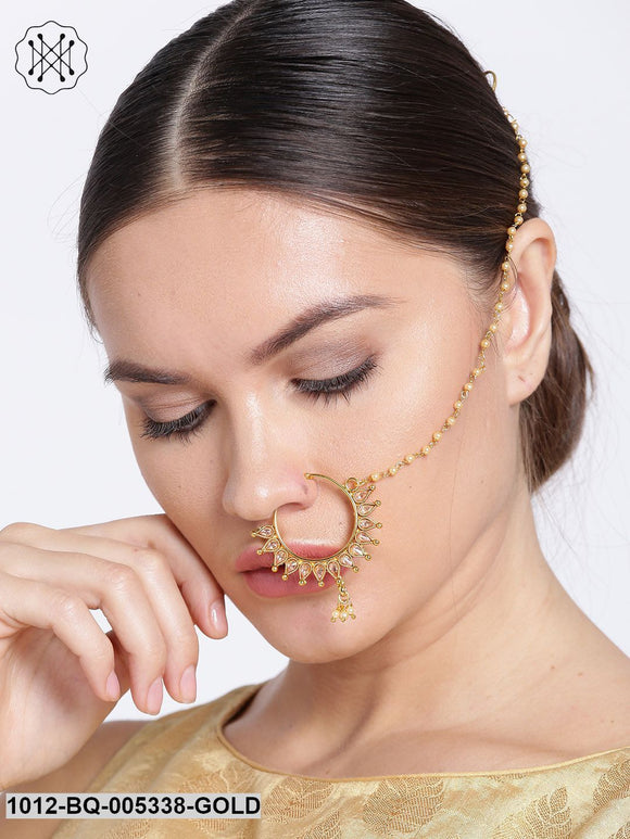 Priyaasi Cream-Coloured Gold-Plated CZ Stone-Studded Handcrafted Nose Ring With Chain