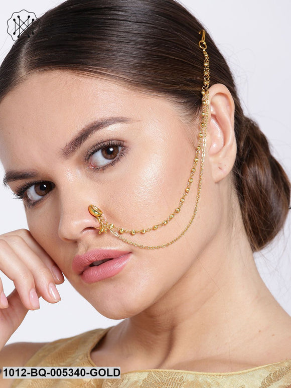 Priyaasi Gold-Plated CZ Stone-Studded Handcrafted Nose Ring With Chain