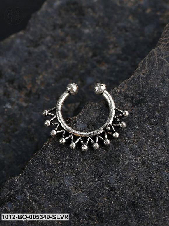 Priyaasi Oxidised Silver-Plated Clip-On Septum Nose Ring