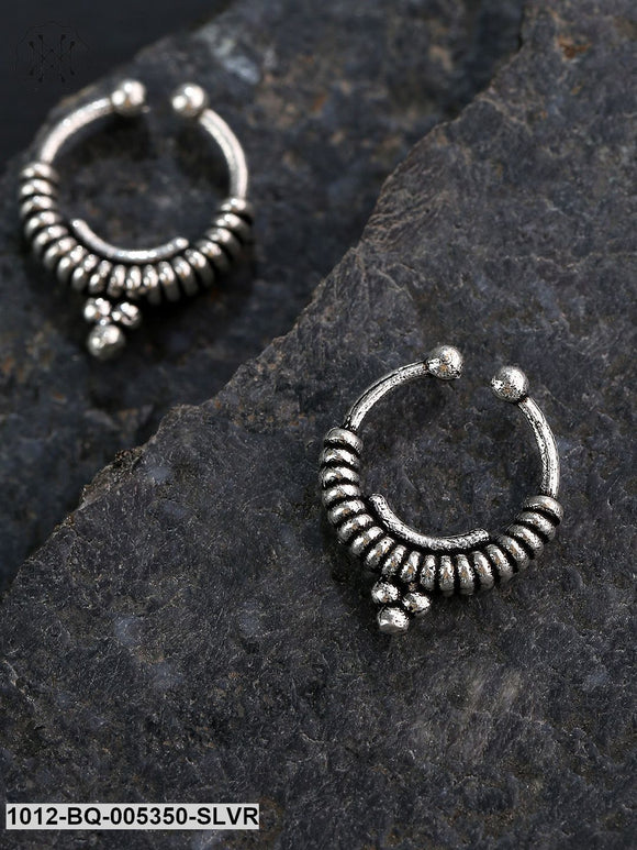 Priyaasi Oxidized Silver-Plated Clip-On Septum Nose Ring