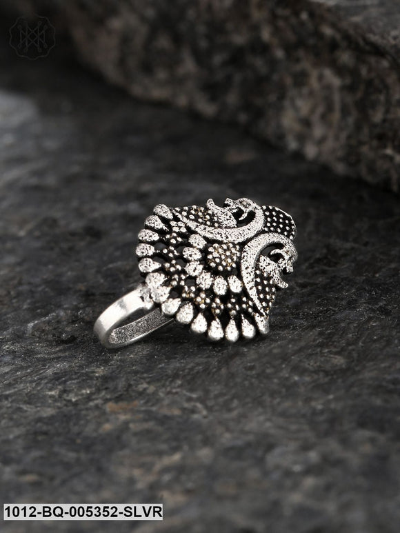 Priyaasi Oxidised Silver-Plated Peacock Shaped Clip-On Nosepin