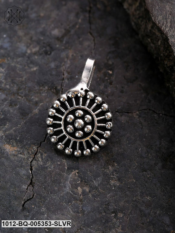 Priyaasi Silver-Plated Oxidised Round Clip-On Nosepin