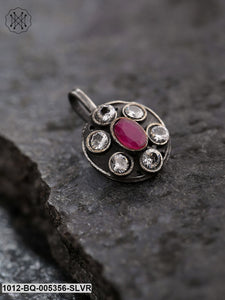 Priyaasi Oxidised Silver-Plated Pink And White Stone Studded Free Size Clip-On Nose pin