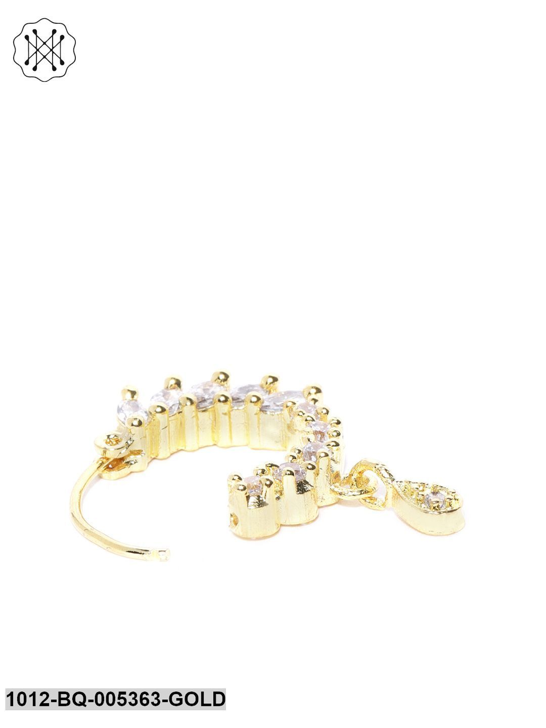 Priyaasi Gold Plated American Diamond Studded Nose Ring