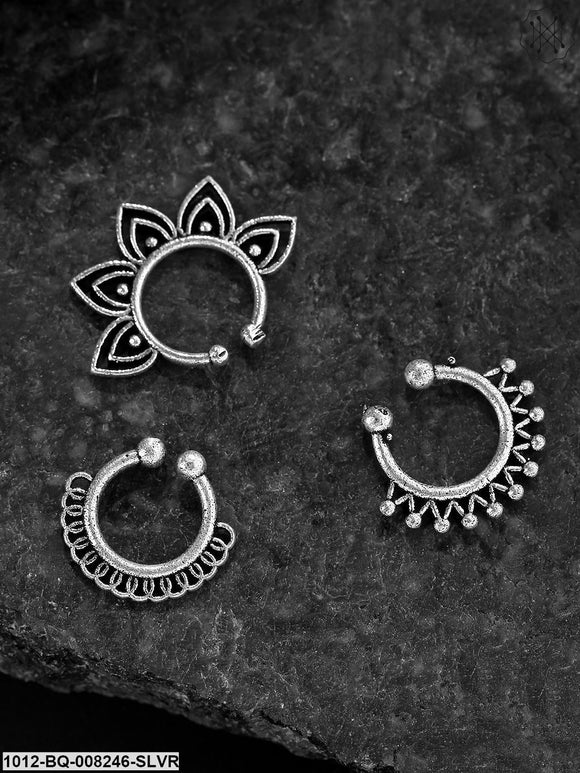 Priyaasi Set Of 4 Oxidised Silver-Toned  Designer  Septum Nosepins