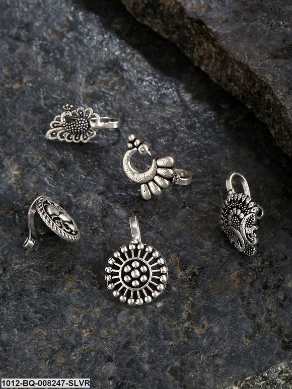 Priyaasi  Set of 5 Oxidised Silver-Toned Free Size Clip-On Nosepins