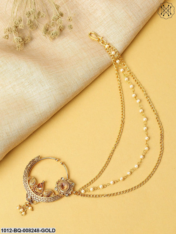 Priyaasi Traditional Gold Plated NoseRing/Nath With Pearl Chain
