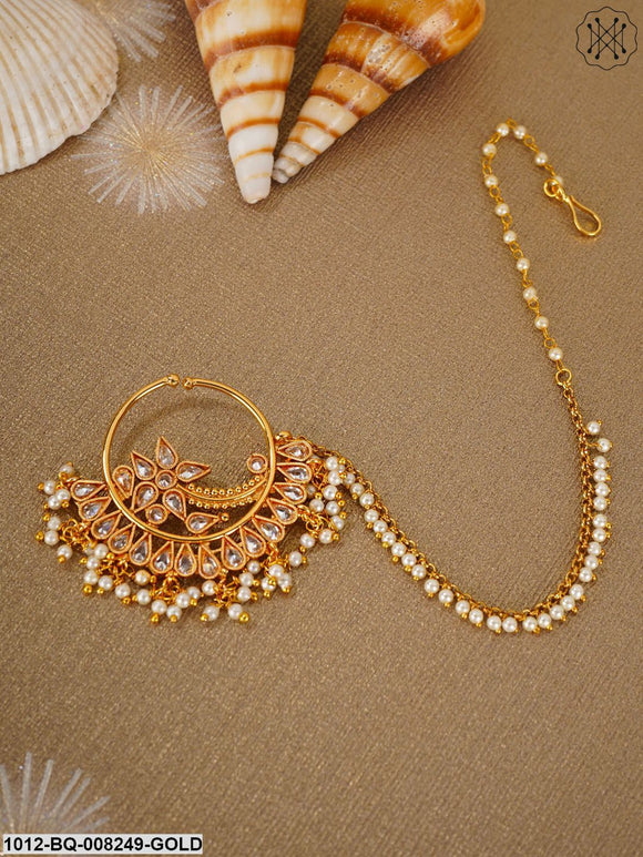Priyaasi Designer Gold Plated NoseRing/Nath With Pearl Chain