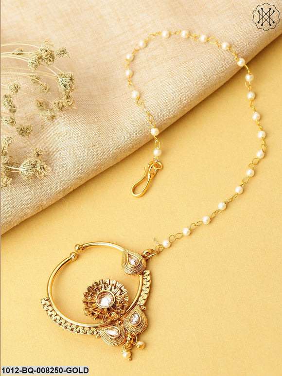 Priyaasi Traditional NoseRing/Nath With Pearl Chain