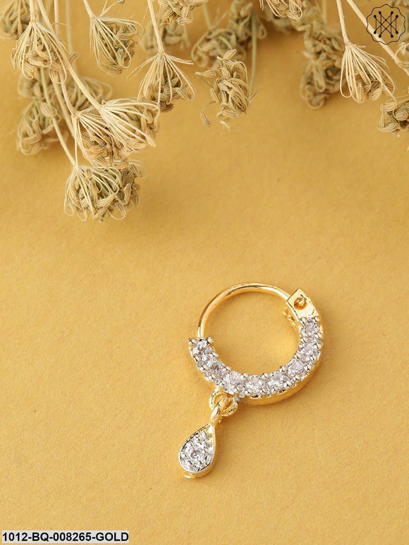 Priyaasi Gold-Toned & White CZ Studded Sparkling Clip-On Nosepin
