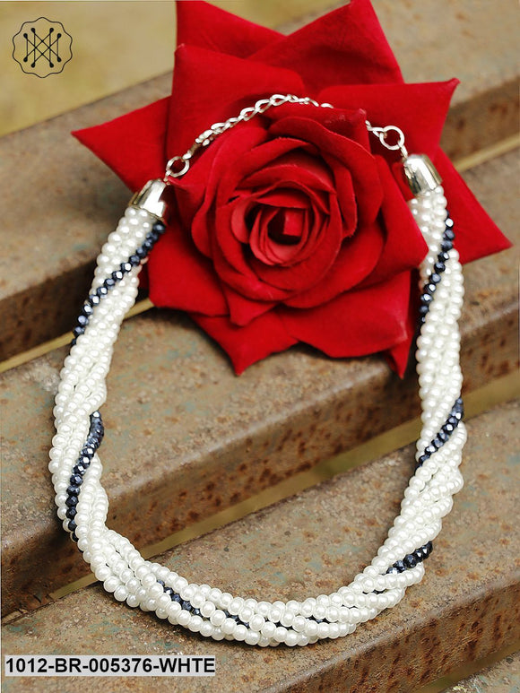 Prita White Handcrafted Multistrand Necklace