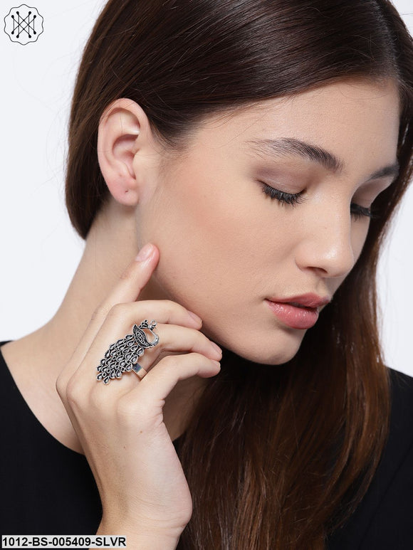 Prita Women Oxidised German Silver Peacock-Shaped Finger Ring With Silver-Plating