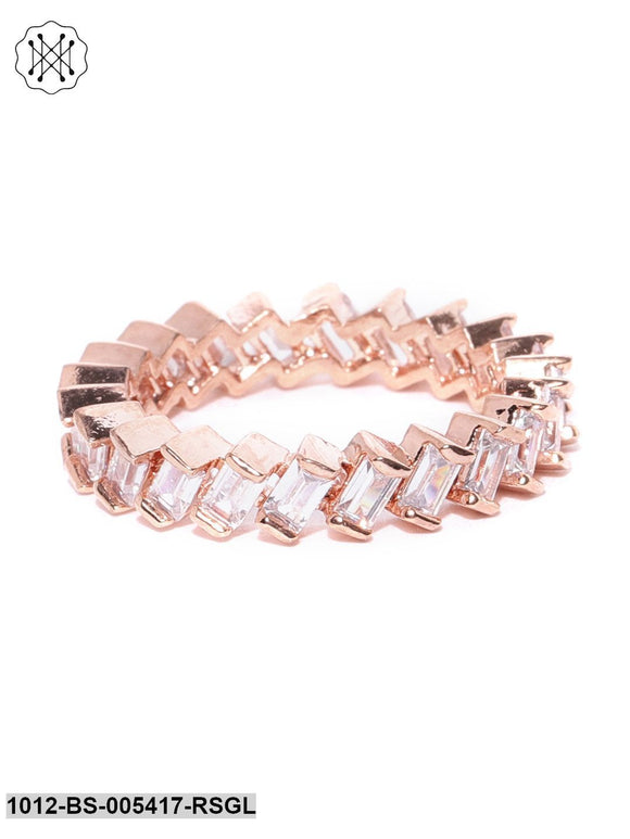 Prita Rose Gold Plated American Diamond Studded Zig Zag Shaped Finger Ring
