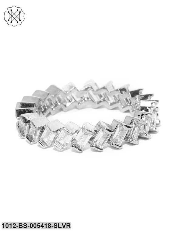 Prita Silver Plated American Diamond Studded Zig Zag Shaped Finger Ring