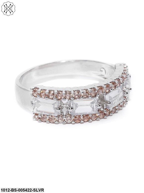 Prita Peach-Coloured Silver-Plated Ad-Studded Handcrafted Finger Ring
