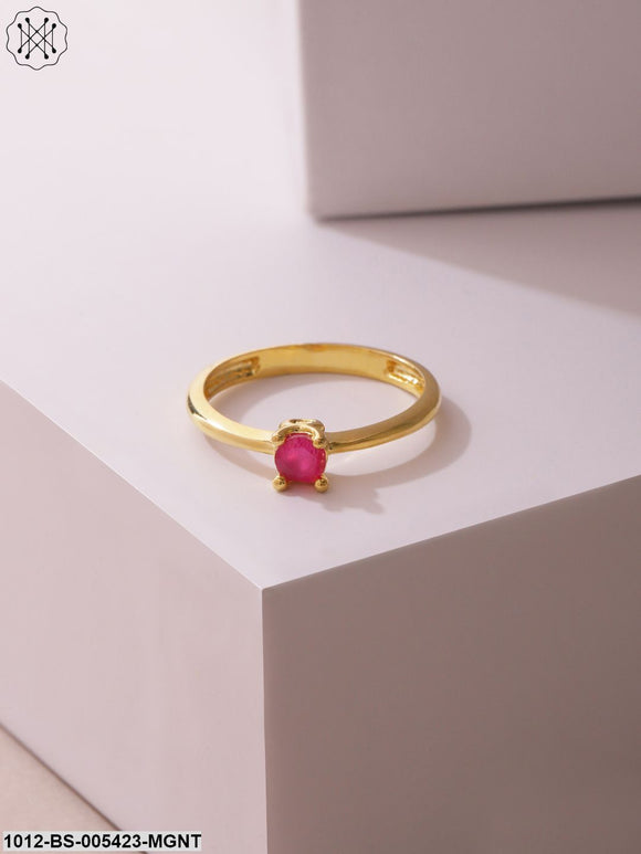 Prita Women Pink Gold-Plated Stone Studded Handcrafted Finger Ring-22-Pink