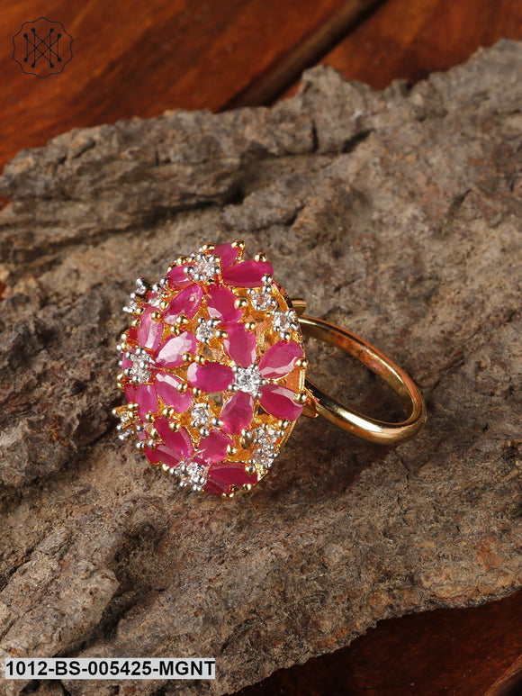 Priyaasi Gold Plated Ruby Statement Ring