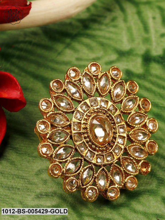 Priyaasi Purple Gold-Plated Kundan Adjustable Ring