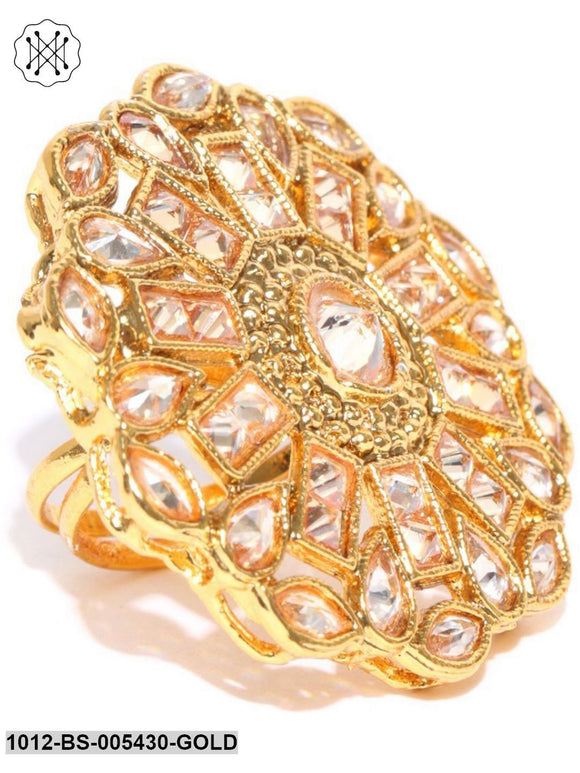 Priyaasi Gold Plated Kundan Statement Ring