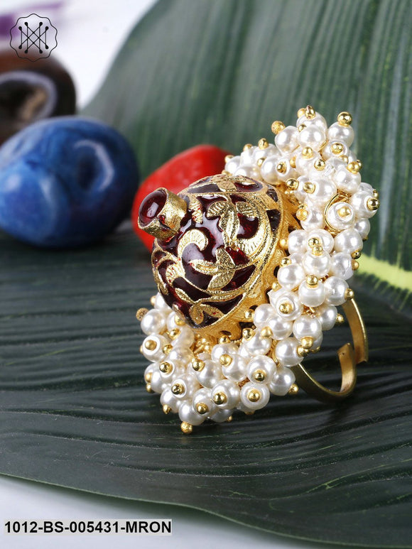 Priyaasi Gold-Toned & Red Beaded Textured Meenakari-Work Adjustable Ring