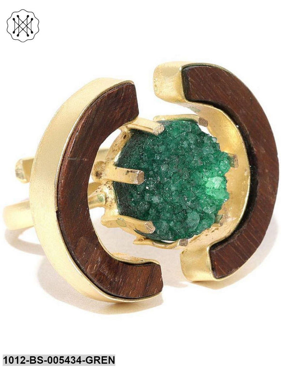 Priyaasi Teak Wood Statement Ring