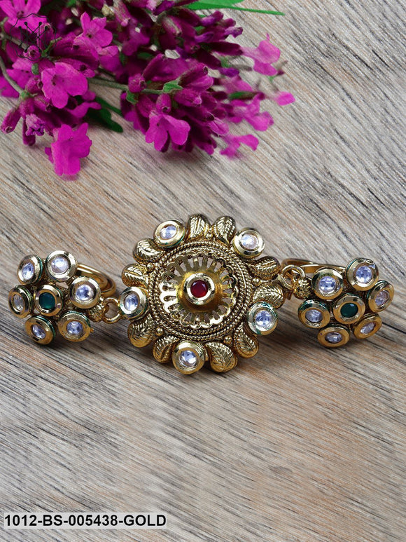 Priyaasi Green & Pink Gold-Plated Kundan-Studded Double Adjustable Ring
