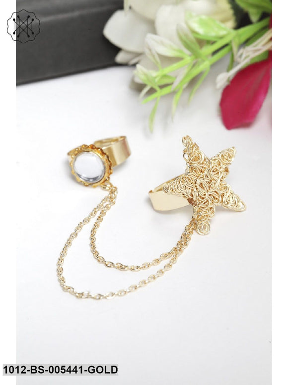 Priyaasi Star Pearl Dual Finger Adjustable Ring