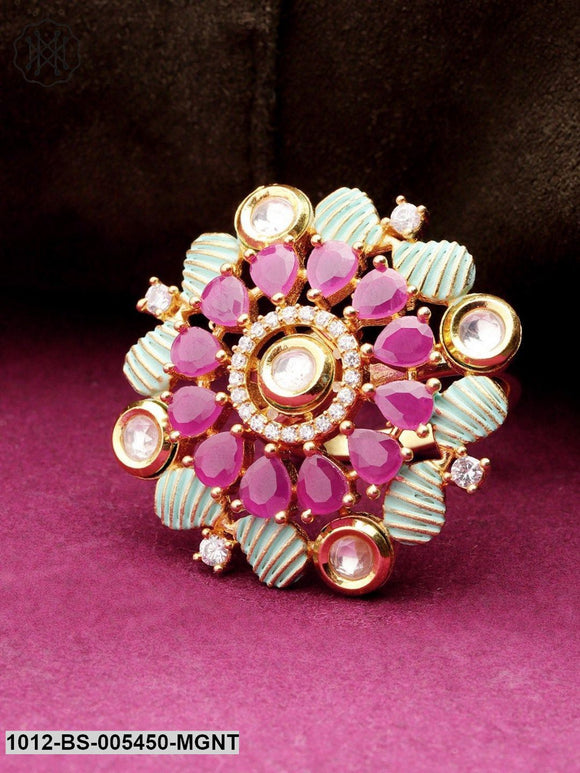 Priyaasi Green & Magenta Gold-Plated Enamelled Kundan-Studded Floral Adjustable Ring