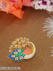 Priyaasi Women Gold-Plated & Multicoloured Enamelled Kundan-Studded Peacock-Shaped Finger Ring