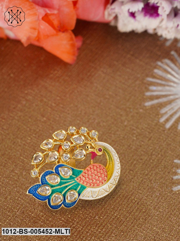 Priyaasi Designer Peacock Shaped Multicolour Enamelled Kundan Ring