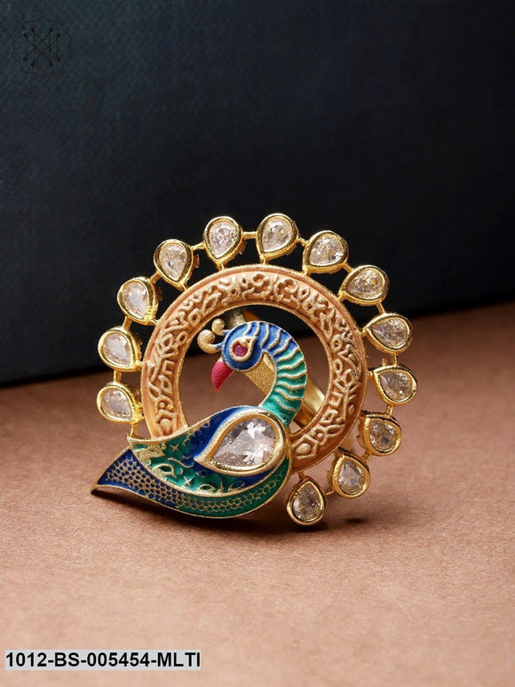 Priyaasi Fancy Peacock Multicolour Enamelled Peacock Ring