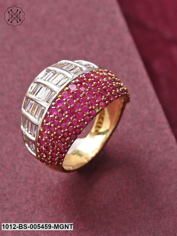 Priyaasi Pink & Silver-Toned Gold-Plated Handcrafted Finger Ring-23-Pink