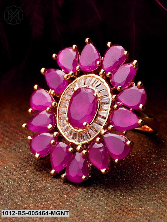 Priyaasi Exclusive Floral Shaped Pink Colour American Diamond Ring