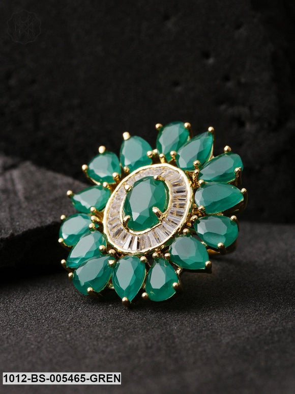 Priyaasi Women Green Gold-Plated Stone-Studded Handcrafted Adjustable Ring