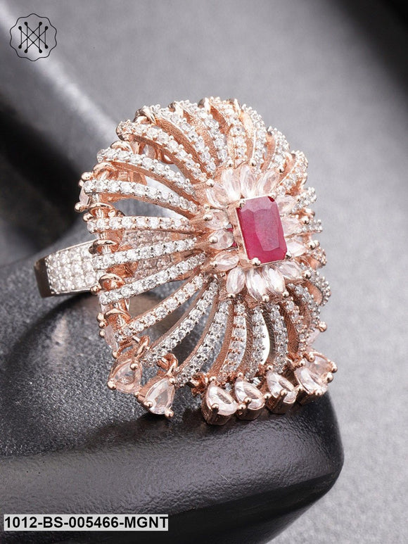 Priyaasi Rose Gold-Plated CZ-Studded Handcrafted Finger Ring