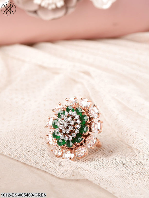 Priyaasi Green Rose Gold-Plated CZ-Studded Floral Handcrafted Adjustable Ring
